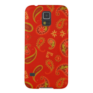 Chili Pepper Red and Lime Green Paisley Pattern Case For Galaxy S5