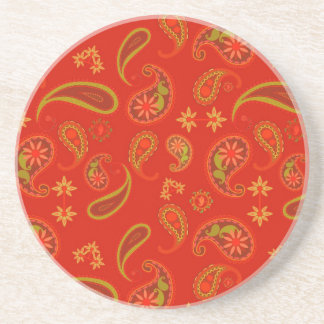 Chili Pepper Red and Lime Green Paisley Pattern Coaster