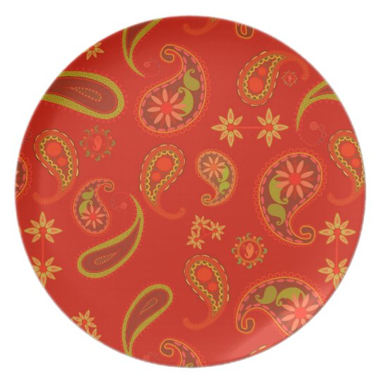 Chili Pepper Red and Lime Green Paisley Pattern Dinner Plate