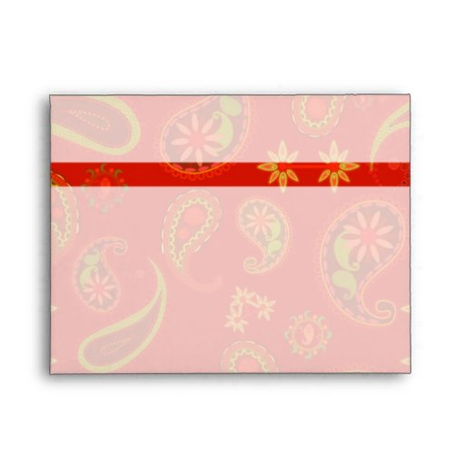 Chili Pepper Red and Lime Green Paisley Pattern Envelopes