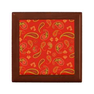 Chili Pepper Red and Lime Green Paisley Pattern Gift Box