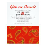 Chili Pepper Red and Lime Green Paisley Pattern 4.25x5.5 Paper Invitation Card