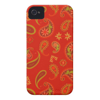 Chili Pepper Red and Lime Green Paisley Pattern iPhone 4 Case