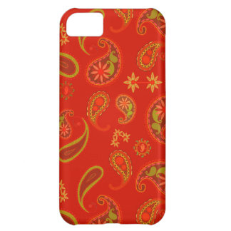 Chili Pepper Red and Lime Green Paisley Pattern iPhone 5C Cover