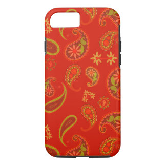 Chili Pepper Red and Lime Green Paisley Pattern iPhone 7 Case