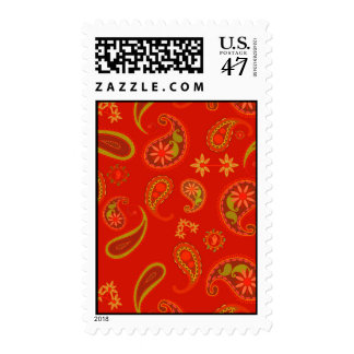 Chili Pepper Red and Lime Green Paisley Pattern Postage Stamp