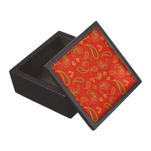 Chili Pepper Red and Lime Green Paisley Pattern Premium Gift Box
