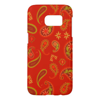 Chili Pepper Red and Lime Green Paisley Pattern Samsung Galaxy S7 Case