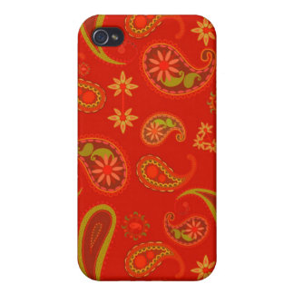 Chili Pepper Red and Lime Green Paisley Pern Cover For iPhone 4