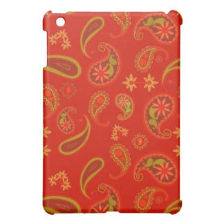 Chili Pepper Red and Lime Green Paisley Pern iPad Mini Case
