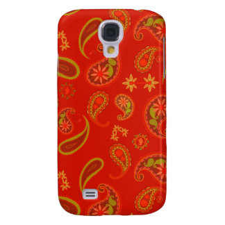 Chili Pepper Red and Lime Green Paisley Pern Samsung Galaxy S4 Cover