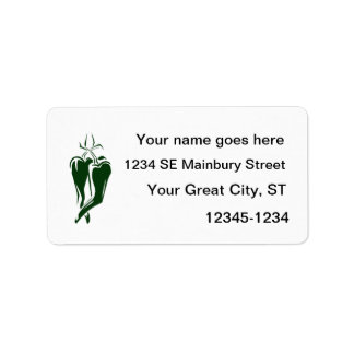 chili pepper two dancing abstract address label