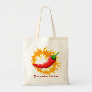 Chili pepper with flame tote bag