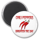 Chili Peppers Brighten the Day Fridge Magnets