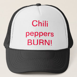 Chili peppers BURN hat. Trucker Hat