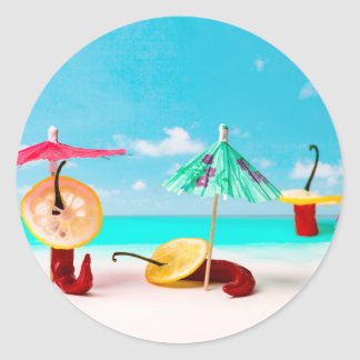 Chili Peppers By The Sea Classic Round Sticker