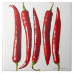 Chili Peppers in a Row Ceramic Tile