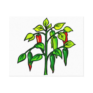 Chili Plant Many Peppers Graphic Canvas Print