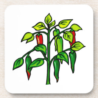 Chili Plant Many Peppers Graphic Coaster