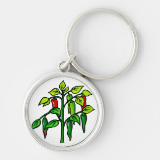 Chili Plant Many Peppers Graphic Silver-Colored Round Keychain