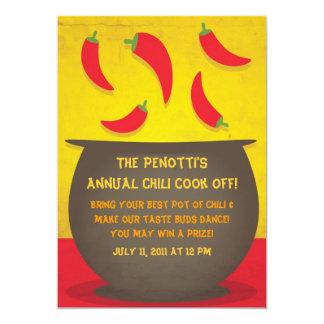 """Chili Pot - Cook Off Invitation 5"""" X 7"""" Invitation Card"""