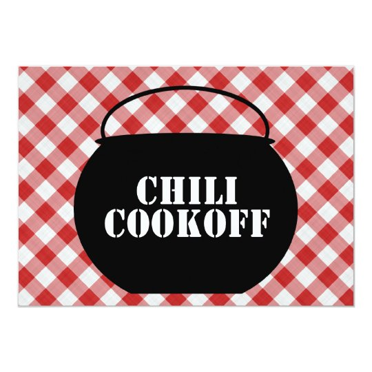 Chili Pot Silo, Red & White Checked Cloth Cookoff Card