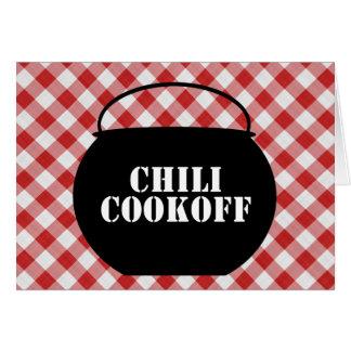 Chili Pot Silo, Red & White Checked Cloth Cookoff Card