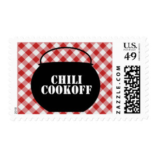 Chili Pot Silo, Red & White Checked Cloth Cookoff Postage