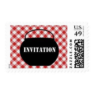 Chili Pot Silo, Red & White Checked Cloth Invited Postage Stamp