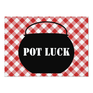 Chili Pot Silo, Red & White Checked Cloth Pot Luck Card