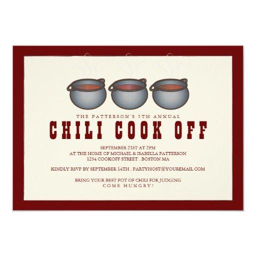 Chili Pot Trio Chili Cook Off Party Invitation | Zazzle