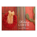Chili Ristra Red Wreath with rustic beige bow Card