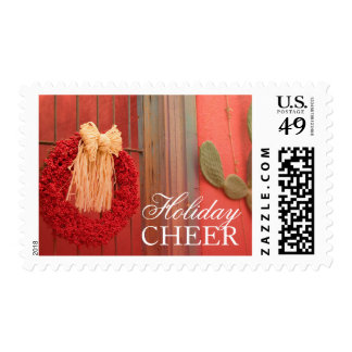 Chili Ristra Red Wreath with rustic beige bow Postage