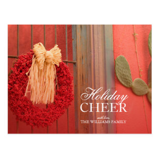 Chili Ristra Red Wreath with rustic beige bow Postcard
