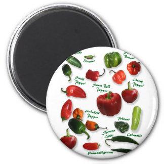 Chili Varieties 2 Inch Round Magnet