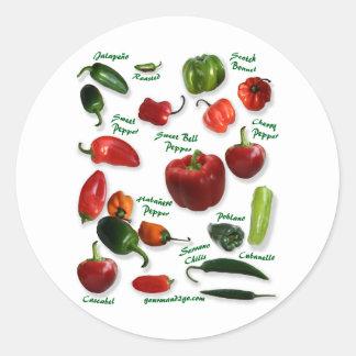 Chili Varieties Classic Round Sticker
