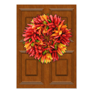 Chili Wreath on Wood Door Card