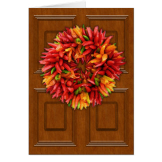 Chili Wreath on Wood Door Card