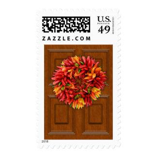 Chili Wreath on Wood Door Stamp