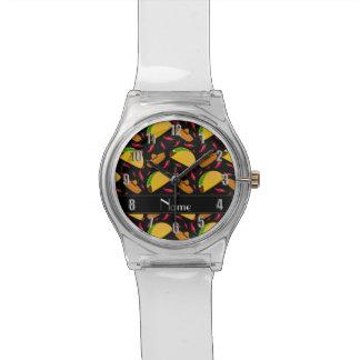Chilis negros conocidos personalizados de los reloj de mano