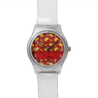Chilis rojos conocidos personalizados de los relojes de pulsera