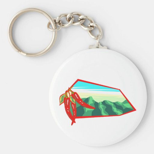 Chilis with moutain range behind basic round button keychain