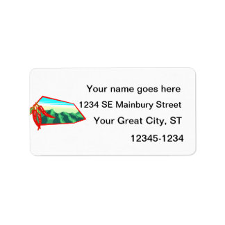 Chilis with moutain range behind custom address label