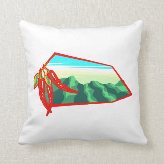 Chilis with moutain range behind throw pillows