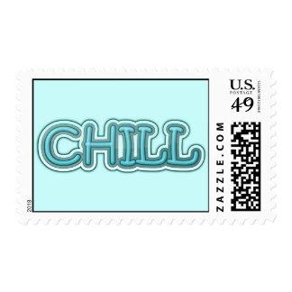 Chill Blue Icy Letters Postage Stamps