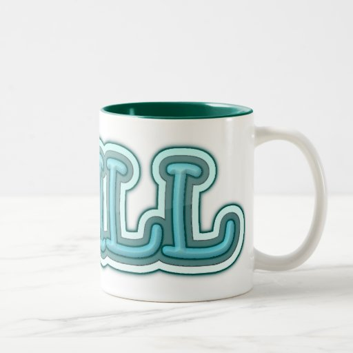 Chill Blue Icy Letters Two-Tone Coffee Mug