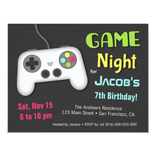 Chill Boys Video Game Night Birthday Party Card