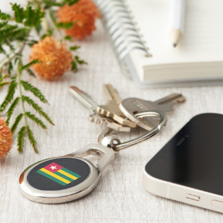 Chill Flag of Togo Silver-Colored Oval Metal Keychain