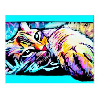 chill kitty purple postcard