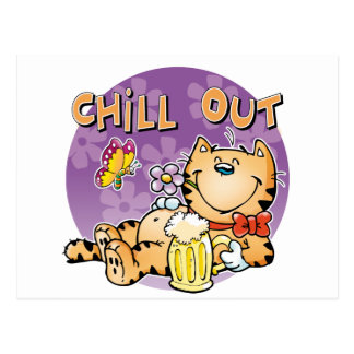 Chill Out Cat Postcard